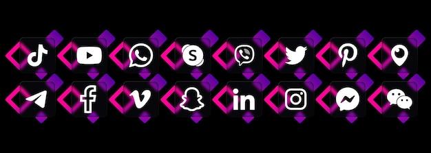 Zestaw ikon mediów społecznościowych. instagram, viber, whatsapp i facebook. interfejs użytkownika ui ux. styl szkłomorfizmu. logo. wektor. zaporoże, ukraina - 24 lipca 2021 r.