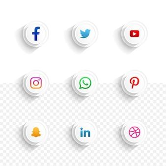 Zestaw ikon mediów społecznościowych kolekcja 3d elegancki minimalistyczny z białym przezroczystym tłem