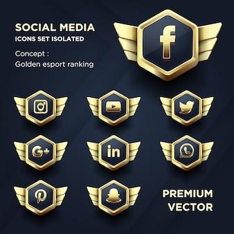 Zestaw ikon mediów społecznościowych na białym tle złoty ranking esport