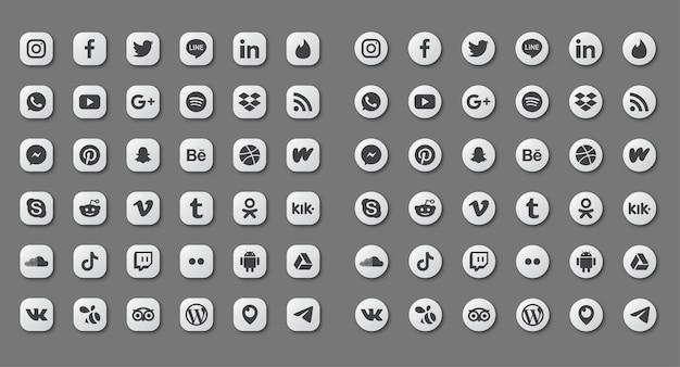 Zestaw ikon mediów społecznościowych na białym tle