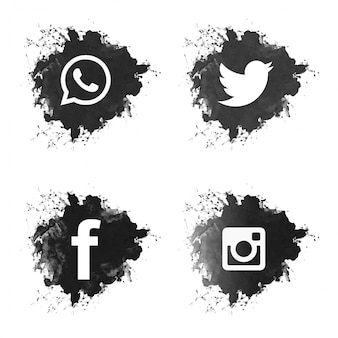 Zestaw ikon mediów społecznych czarny grunge