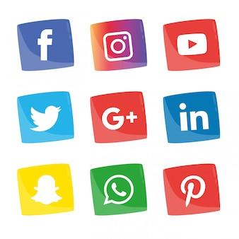 Zestaw ikon mediów społecznych.