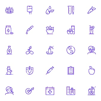 Zestaw ikon medycyny alternatywnej, z ikoną stylu konturu