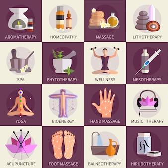Zestaw ikon medycyny alternatywnej