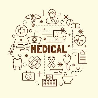 Zestaw ikon medyczne minimalna cienka linia