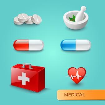 Zestaw ikon medycznych i symboli