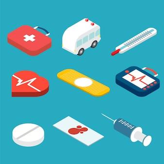Zestaw ikon medycznych izometryczny