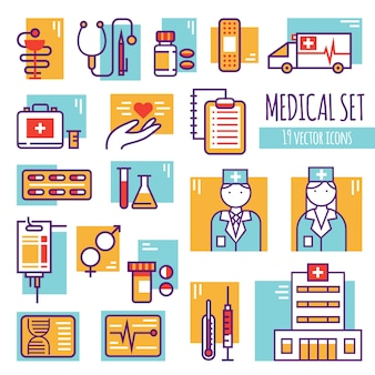 Zestaw ikon medycznych linii dekoracyjnych