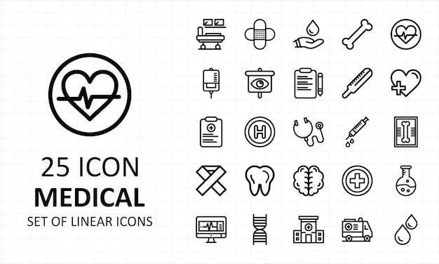 Zestaw ikon medycznych pixel perfect