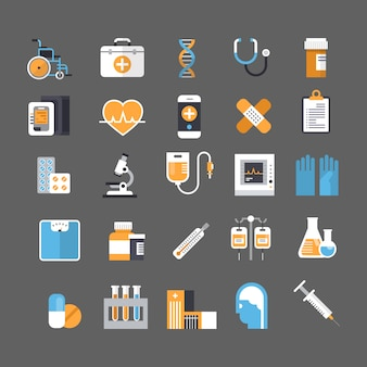Zestaw ikon medycznych sprzęt znak medycyny koncepcja leczenia szpitalnego