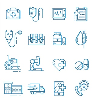 Zestaw ikon medycznych w stylu konspektu