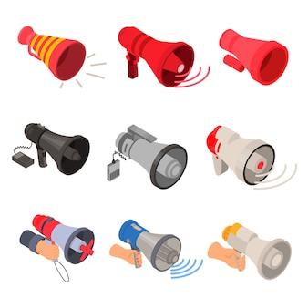 Zestaw ikon megafon. izometryczny zestaw ikon wektorowych megafon do projektowania stron internetowych na białym tle