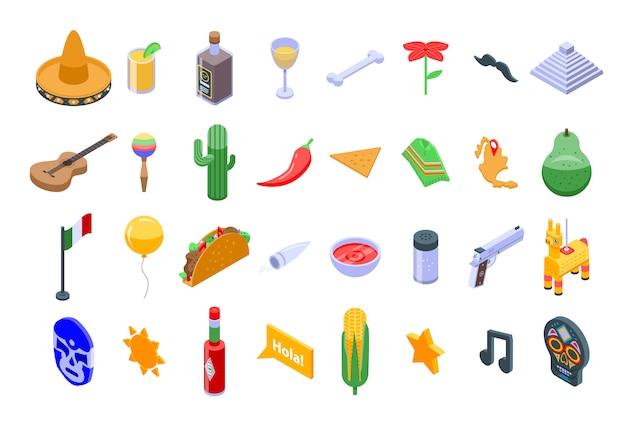 Zestaw ikon meksyk, izometryczny styl