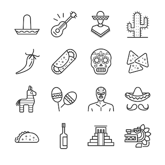 Zestaw ikon meksykański linii.