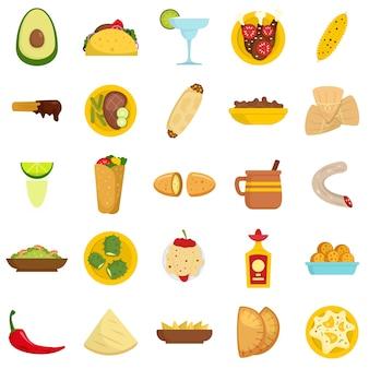 Zestaw ikon meksykańskie jedzenie
