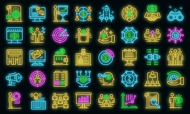 Zestaw ikon menedżera konta. zarys zestaw ikon wektorowych menedżera konta w kolorze neonowym na czarno