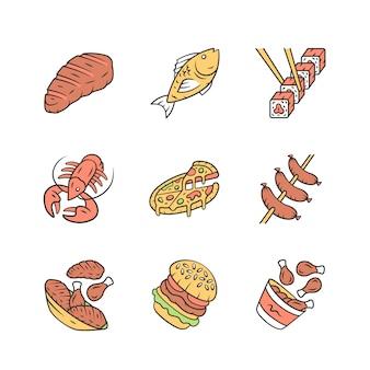 Zestaw ikon menu restauracji.