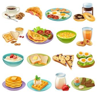 Zestaw ikon menu śniadaniowego śniadaniowego