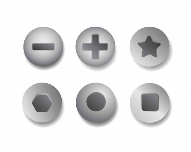 Zestaw ikon metalowej grupy śrub realistyczna głowica ze stali nierdzewnej