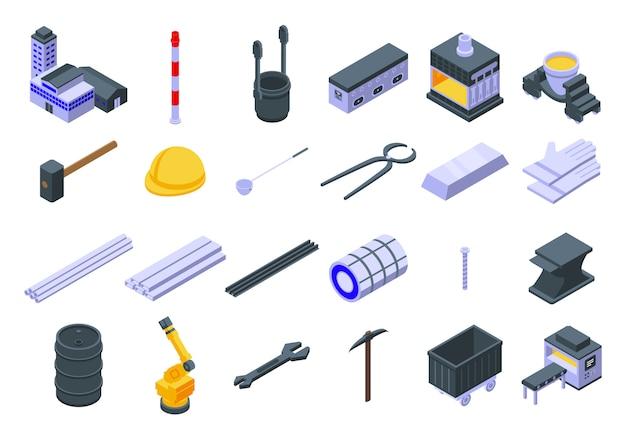 Zestaw ikon metalurgii, izometryczny styl
