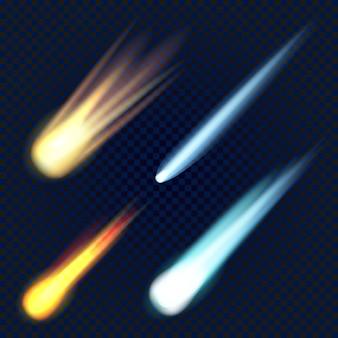 Zestaw ikon meteorytu, realistyczny styl