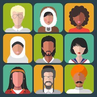 Zestaw ikon mężczyzny i kobiety różnej narodowości w stylu płaski.