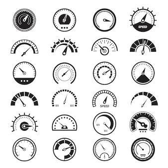 Zestaw ikon miar poziomu. prędkościomierz znak ograniczenia zużycia paliwa wskaźnik prędkości wektor czarne znaki