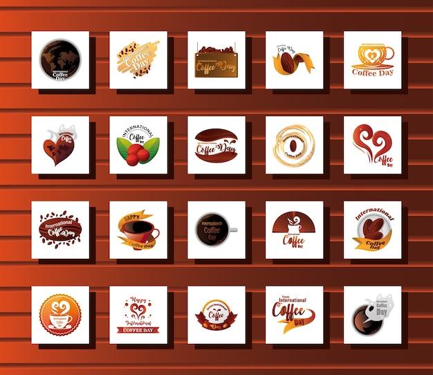 Zestaw ikon międzynarodowy dzień kawy