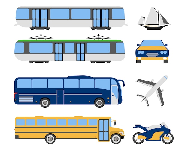 Zestaw ikon miejskiego transportu płaskie