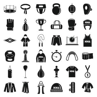 Zestaw ikon mieszanych sztuk walki