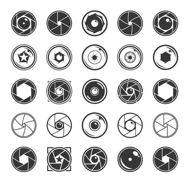 Zestaw ikon migawki aparatu i obiektywów