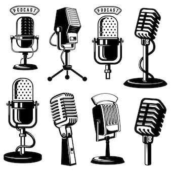Zestaw ikon mikrofonu w stylu retro na białym tle