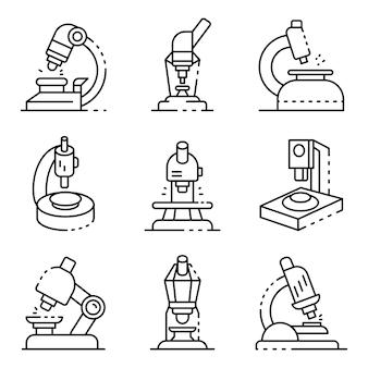Zestaw ikon mikroskopu. zarys zestaw ikon wektorowych mikroskopu