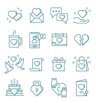 Zestaw ikon miłości i uczuć w stylu konspektu