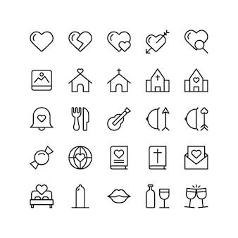 Zestaw ikon miłości ślubu