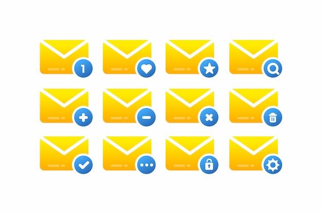 Zestaw ikon minimalistycznej poczty