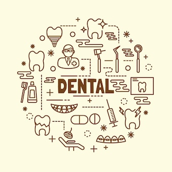 Zestaw ikon minimalna cienka linia dentystycznych