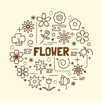 Zestaw ikon minimalna cienka linia kwiat