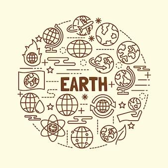 Zestaw ikon minimalna cienka linia ziemi