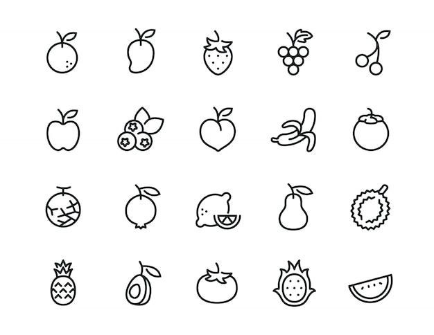 Zestaw ikon minimalne owoce
