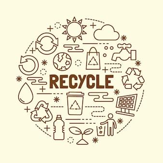 Zestaw ikon minimalny cienka linia recyklingu
