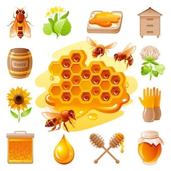 Zestaw ikon miodu i pszczelarstwa.