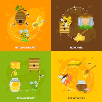 Zestaw ikon miodu i pszczoły
