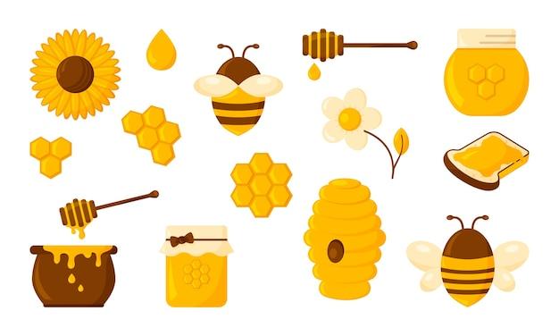 Zestaw ikon miodu. koncepcja projektowania żywności ekologicznej na białym tle
