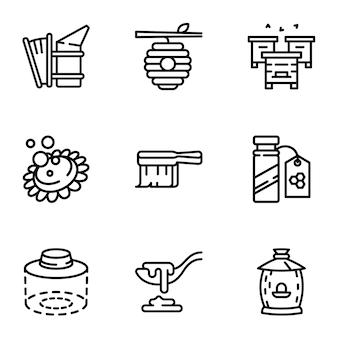 Zestaw ikon miodu, styl konturu
