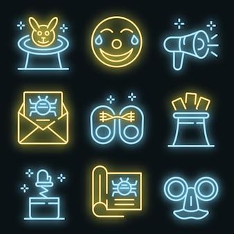 Zestaw ikon mistyfikacja. zarys zestaw ikon wektorowych oszustwa w kolorze neonowym na czarno