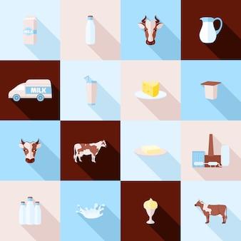 Zestaw ikon mleka