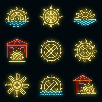 Zestaw ikon młyna wodnego. zarys zestaw ikon wektorowych młyna wodnego w kolorze neonowym na czarno