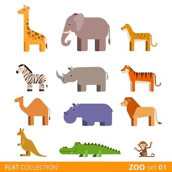 Zestaw ikon modny styl fajny płaski kształt. kolekcja kreskówka zwierząt domowych dzikich zwierząt w zoo dzieci. żyrafa słoń gepard zebra nosorożec tygrys wielbłąd hipopotam lew kangur krokodyl małpa.