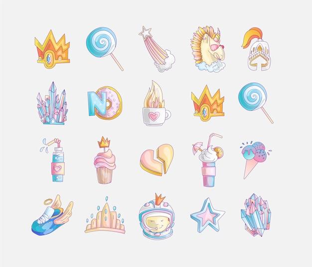 Zestaw ikon mody słodkie księżniczki i dziewczynki.